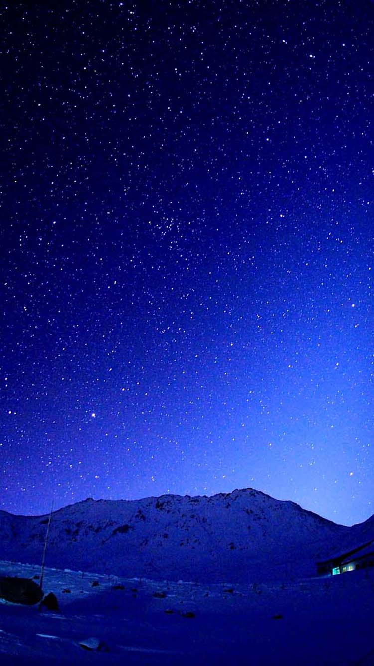 750x1334 Cold Blue Starry Sky Mountains iPhone 6 Wallpaper HD - Descarga gratuita
