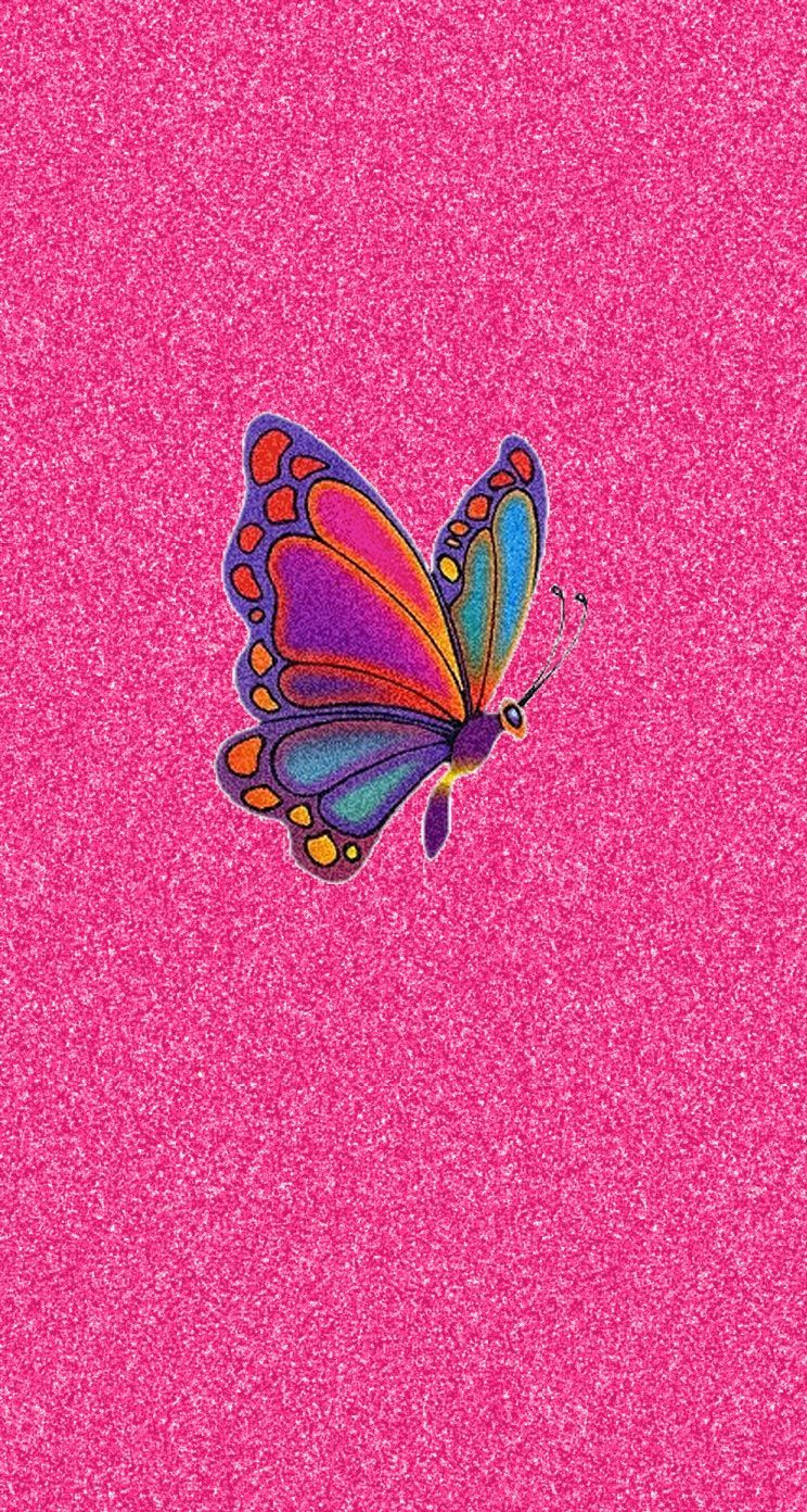 Pink Glitter Colorful Butterfly iPhone Fondos de pantalla | Color - Brillo