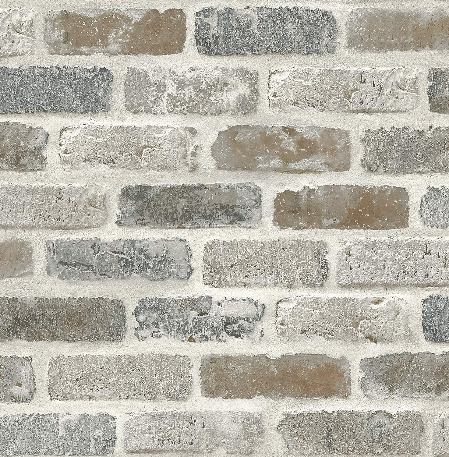 NextWall Washed Faux Brick Peel y Stick Wallpaper.