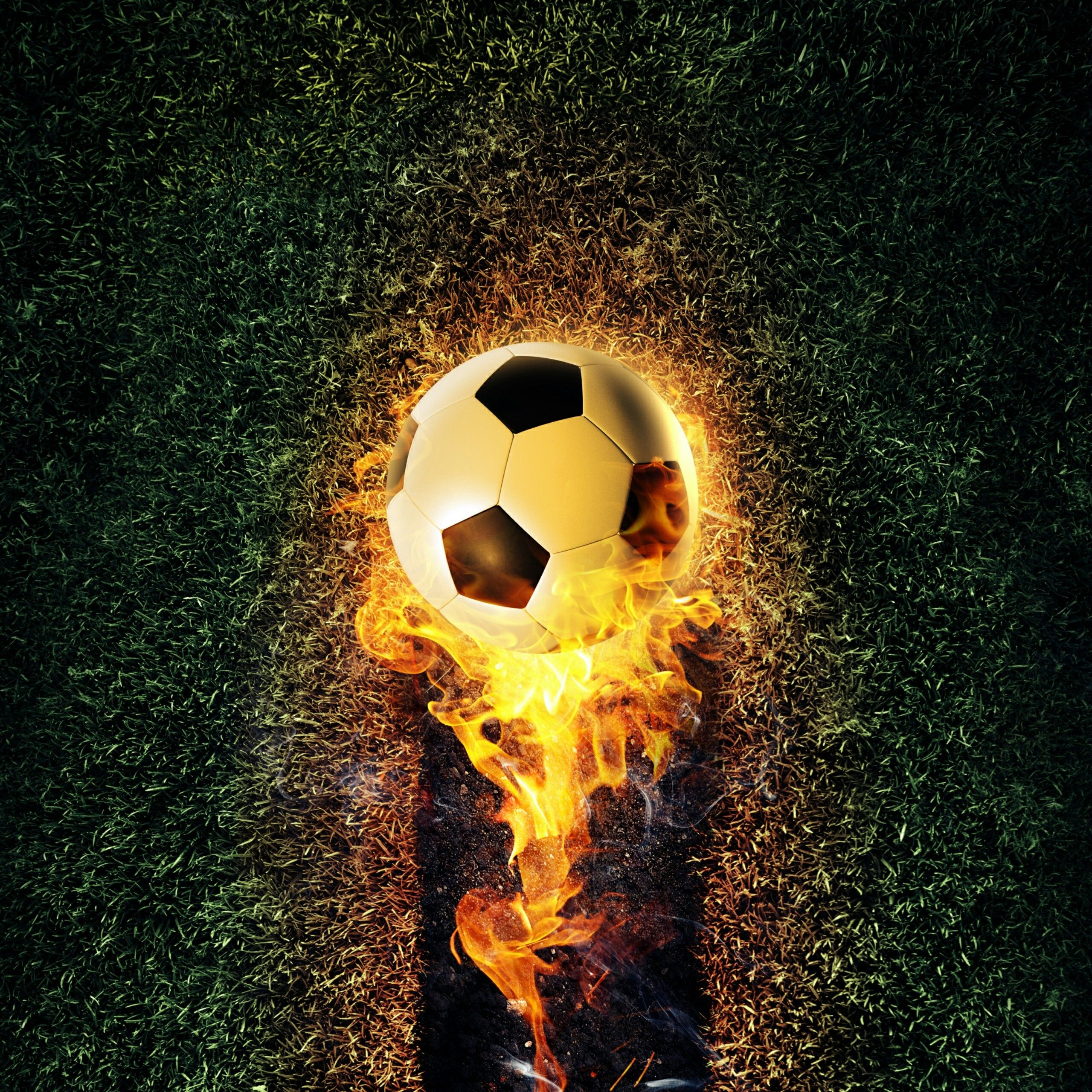 The Ball On Fire Soccer Football Sports QHD Wallpaper 2 - Fondo de pantalla